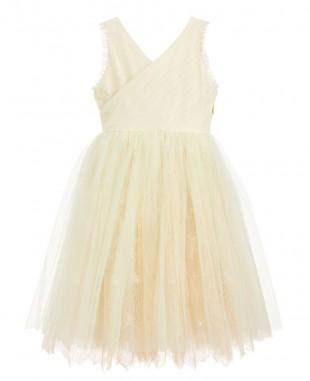 Green Tulle & Beige Lace Dress Sleeveless Princess Dress