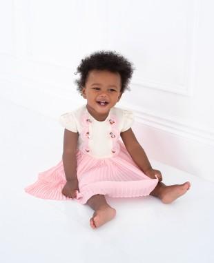 淡粉色白色压褶裙婴儿公主裙