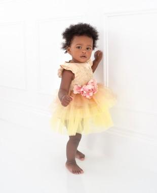 金色蕾丝粉色花朵网纱裙婴儿礼服裙