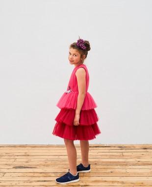 玫红色蝴蝶刺绣无袖网纱裙婚礼花童裙