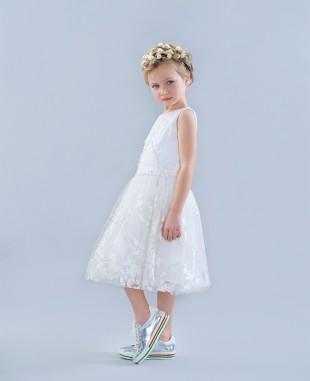 白色无袖蕾丝裙婚礼花童裙